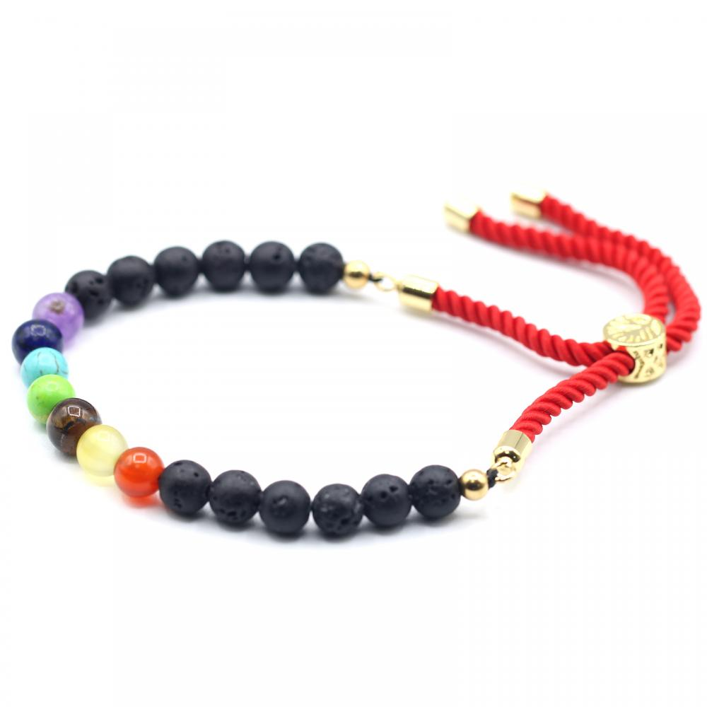 18K Gold Plated Gemstone Royal String Bracelet - Lava Stone Chakra