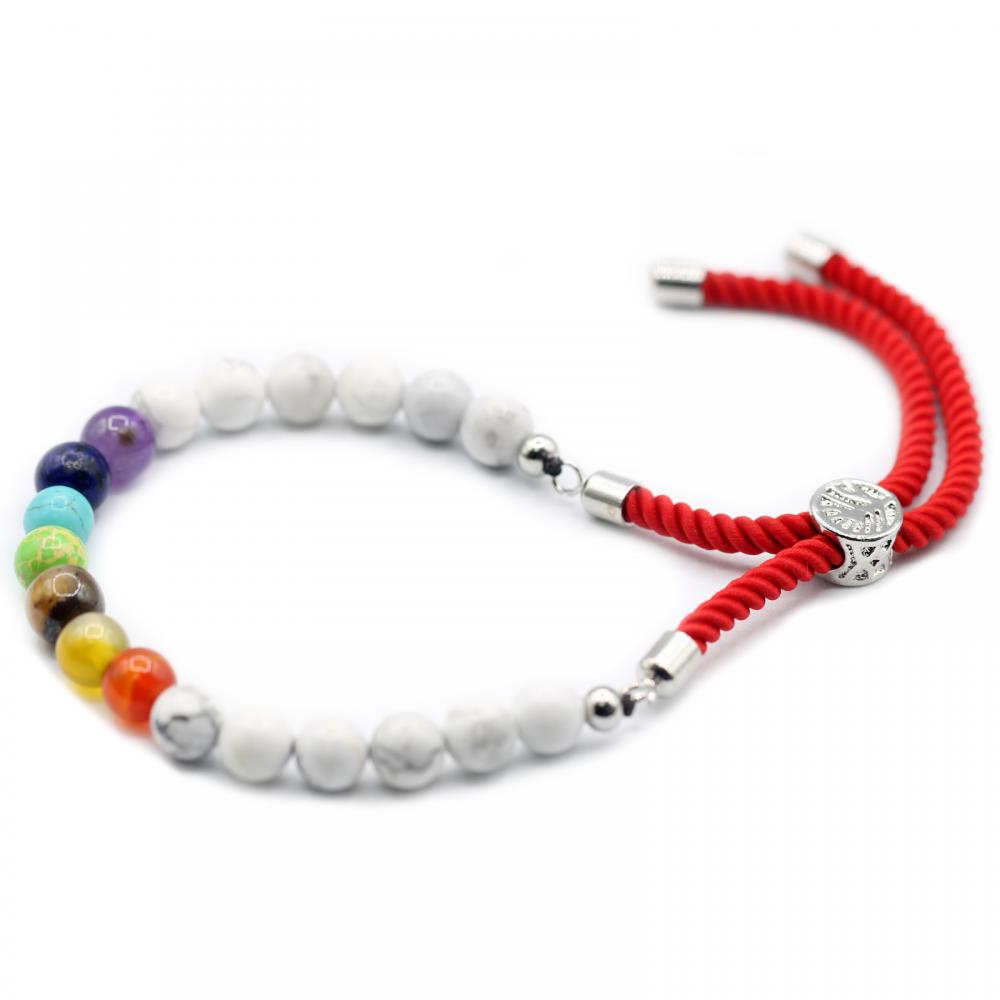 925 Silver Plated Gemstone Royal Red String Bracelet - White Howlite Chakra