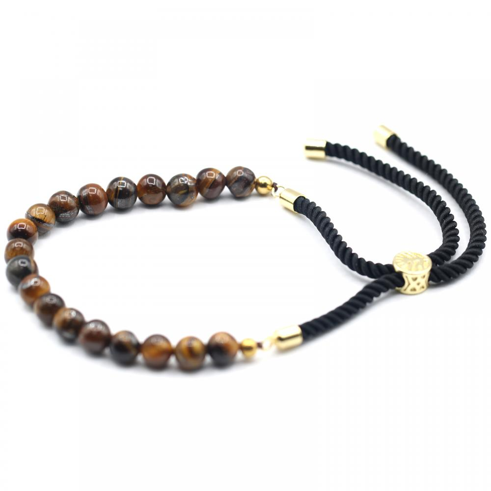 18K Gold Plated Gemstone Black String Bracelet - Tiger Eye