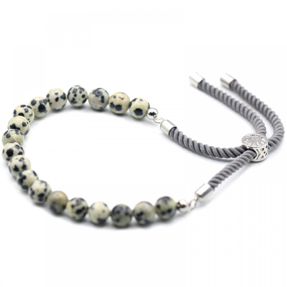 925 Silver Plated Gemstone Charcoal String Bracelet - Dalmation Jasper