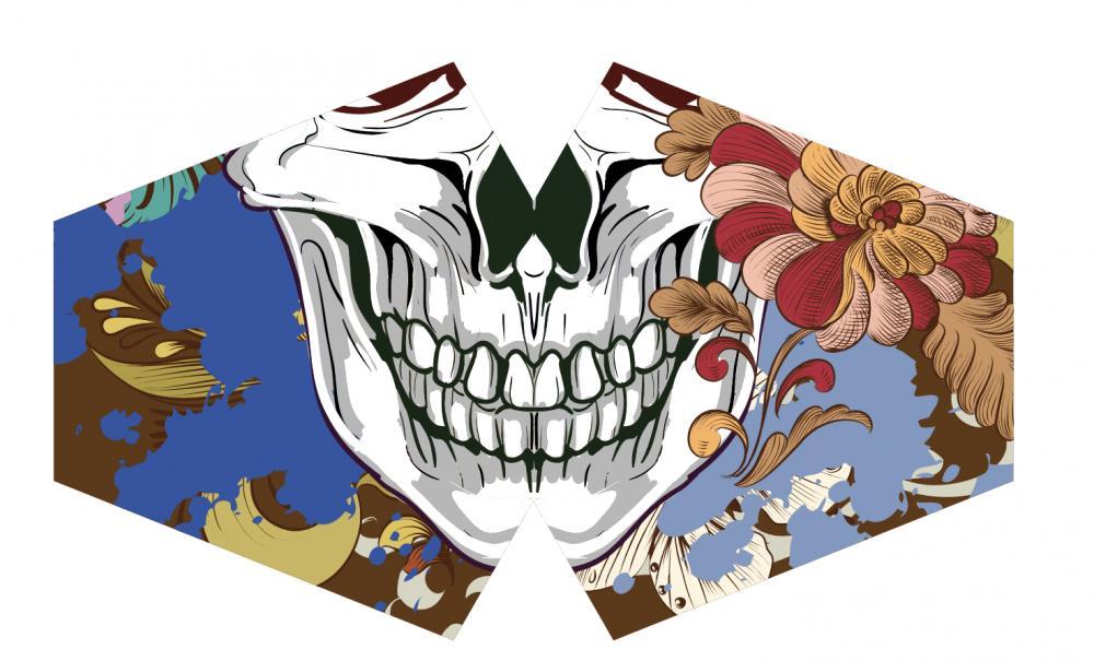 Reusable Fashion Face Mask - Colourful Calavera (Adult)