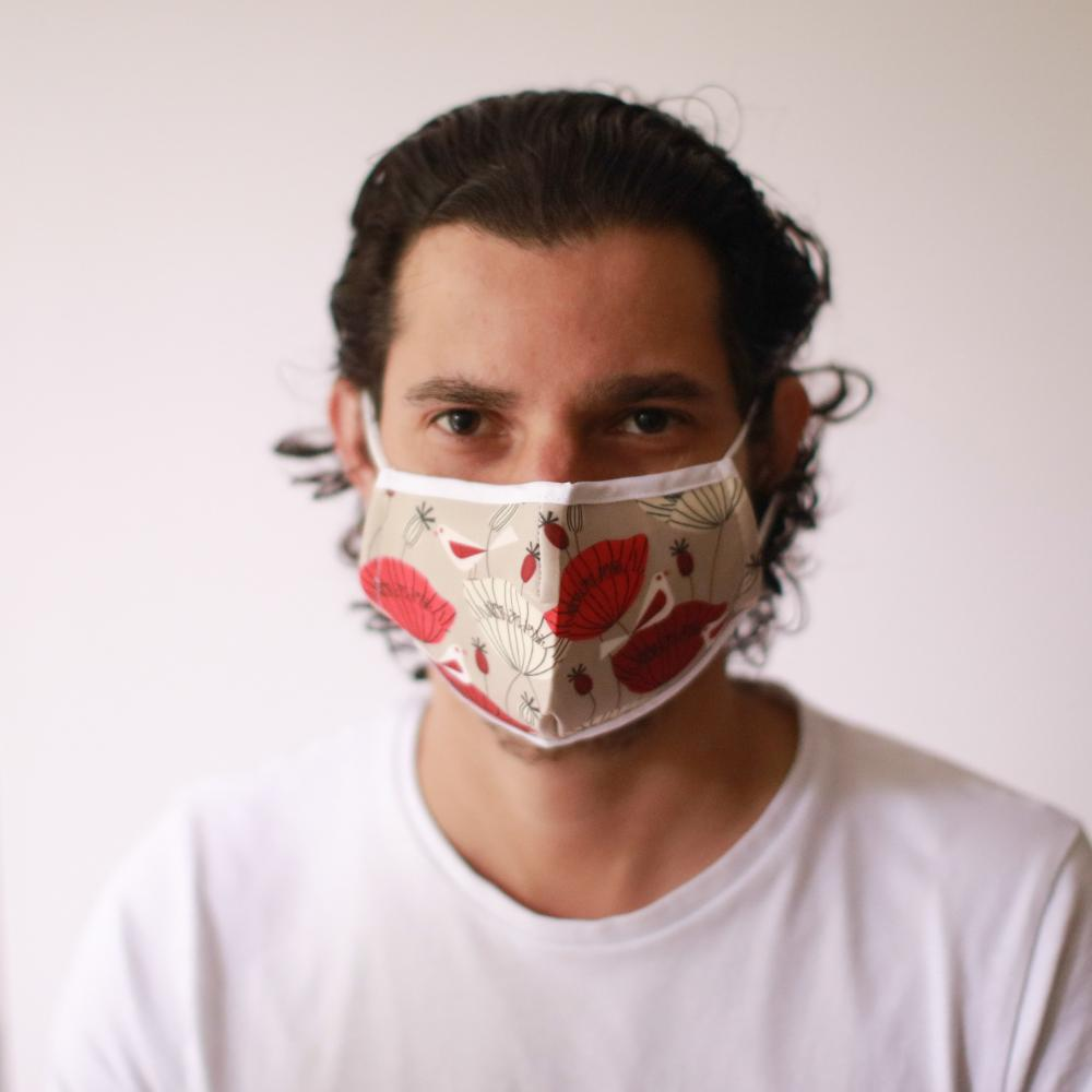 Reusable Fashion Face Mask - Oriental Poppies (Adult)