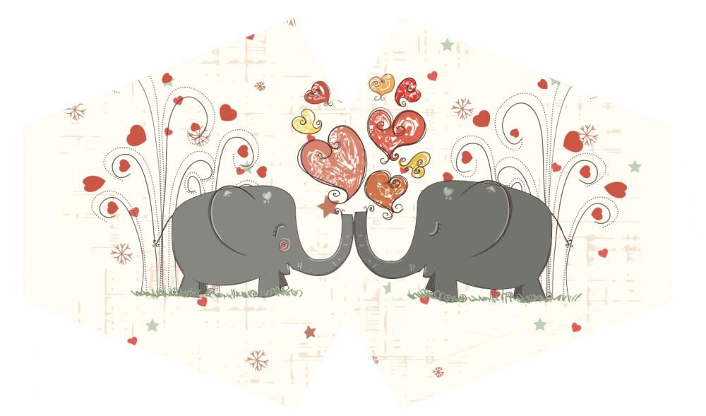 Reusable Fashion Face Mask - Love Elephants (Adult)