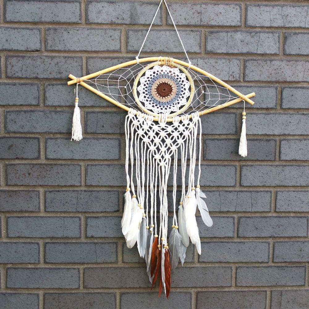 Protection Dream Catcher - Med Macrame Evil Eye White/ Grey/Brown