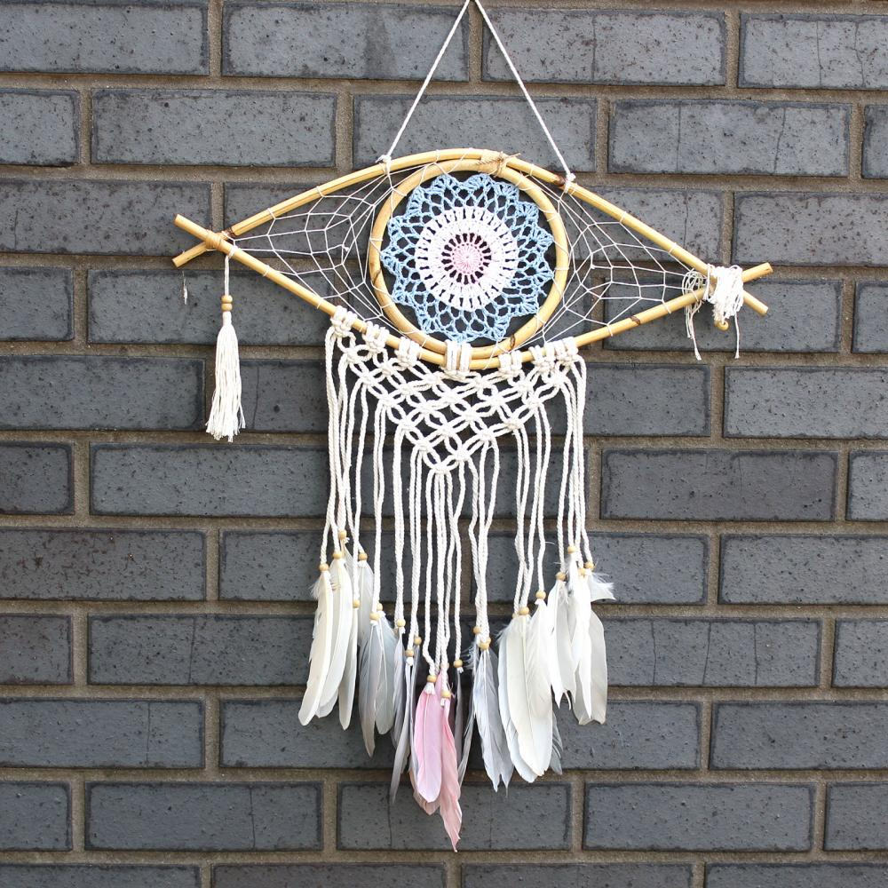 Protection Dream Catcher - Med Macrame Evil Eye Blue/White/Pink