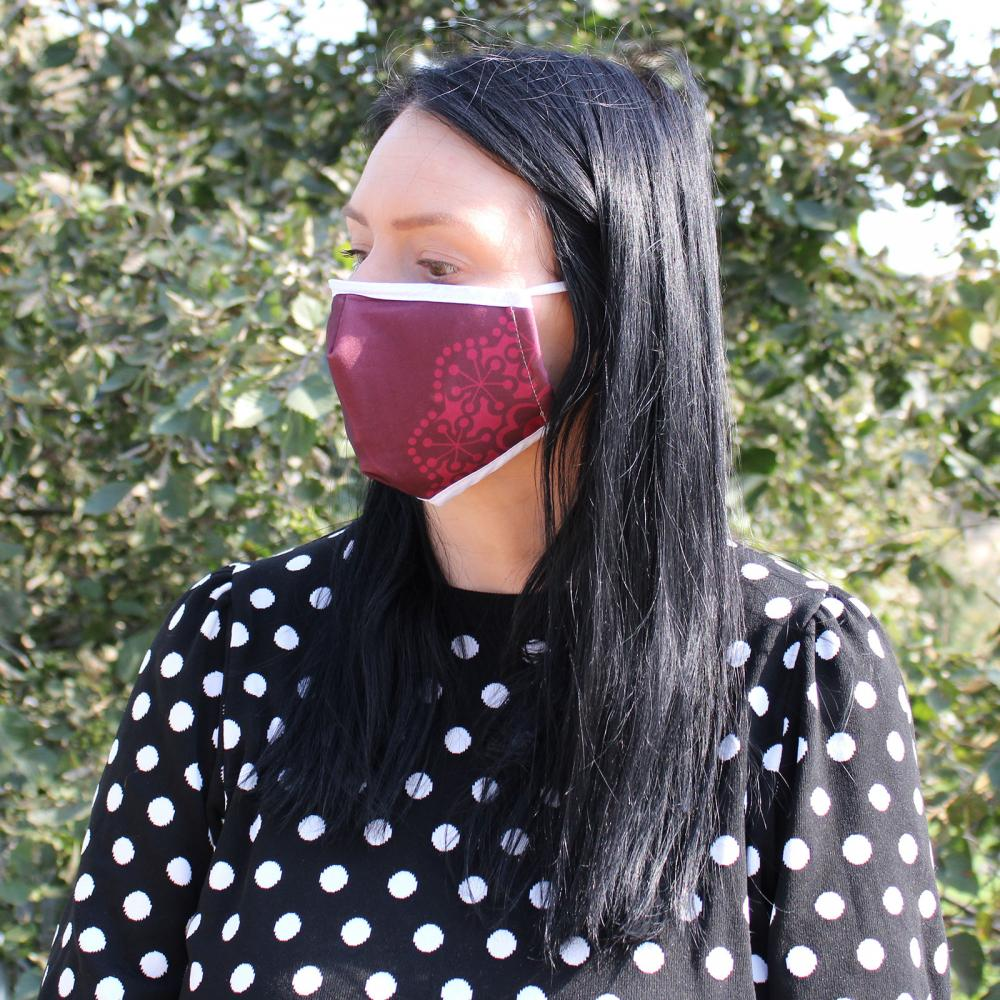 Reusable Fashion Face Covering - Red Mandala Heart  (Adult)