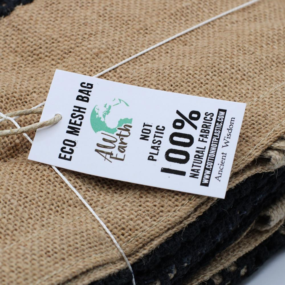 Pure Soft Jute and Cotton Mesh Bag - Natural