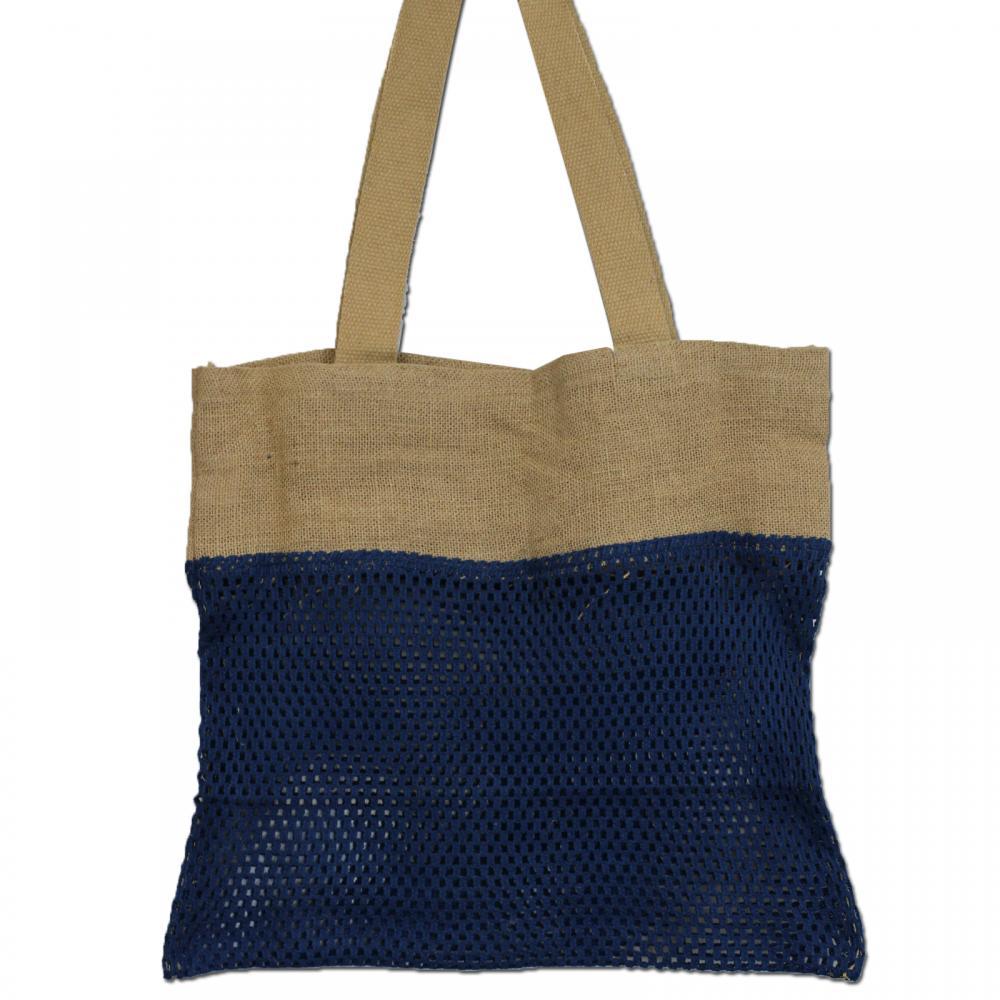 Pure Soft Jute and Cotton Mesh Bag - Denim