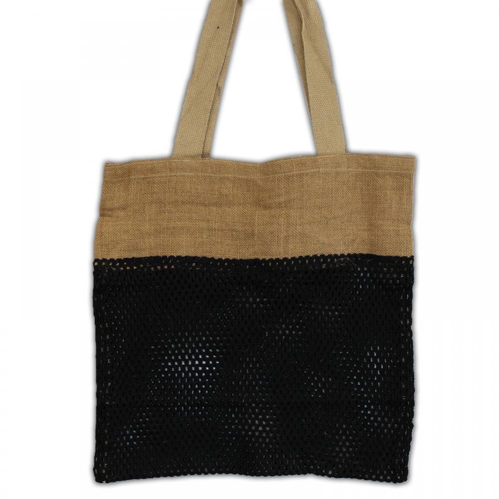 Pure Soft Jute and Cotton Mesh Bag - Black
