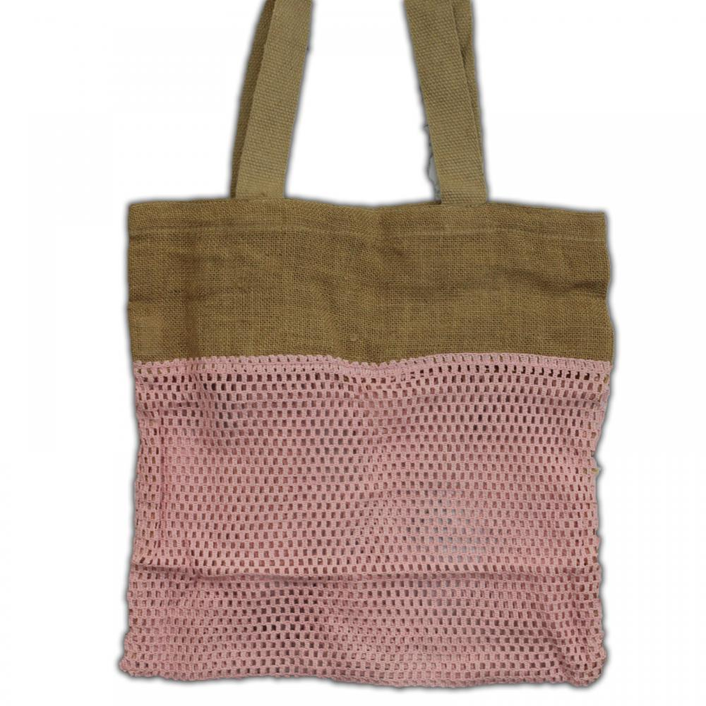 Pure Soft Jute and Cotton Mesh Bag - Rose