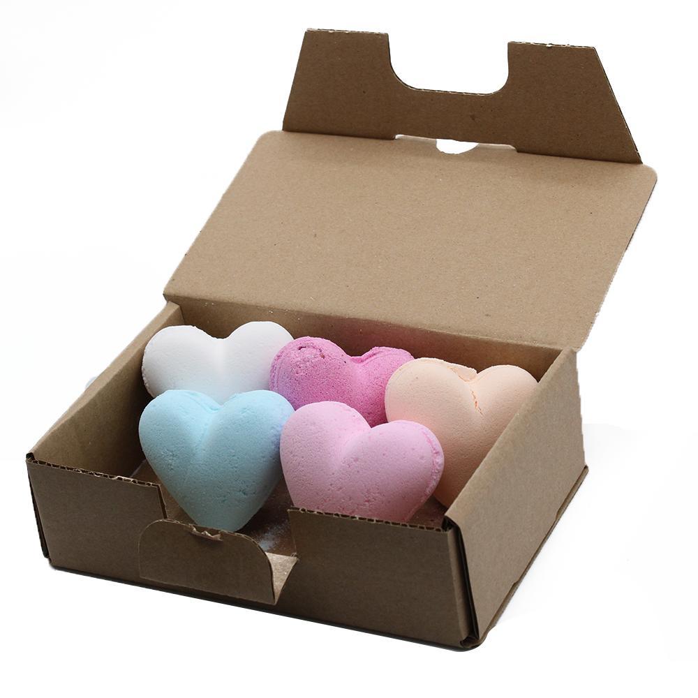 Set of 6 mixed Love Heart Bath Bombs 70g