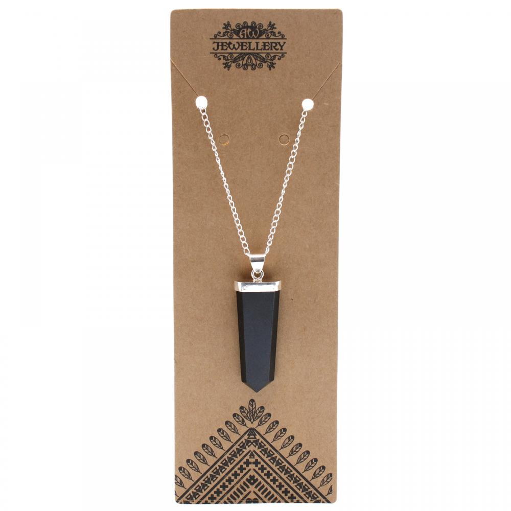 Gemstone Flat Pencil Pendant - Black Agate