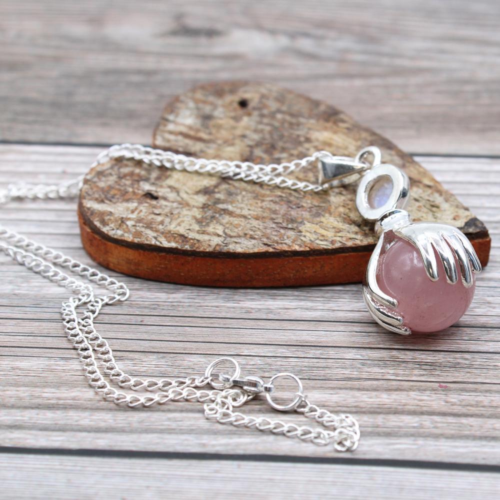 Gemstone Healing Hands Pendant - Rose Quartz