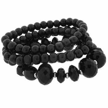 Set of Four Black Beaded Bracelets