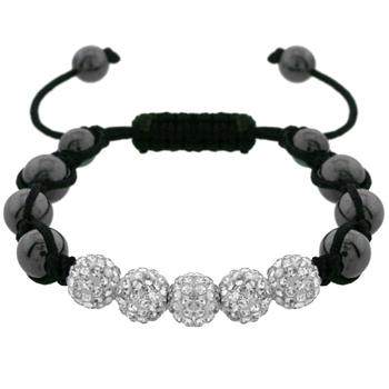Glamorous White Crystal and Hematite Bracelet