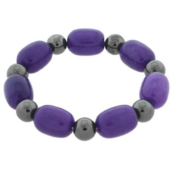 Bracelet with Shiny Amethyst Purple Glass and Black Magnetic Hematite Beads