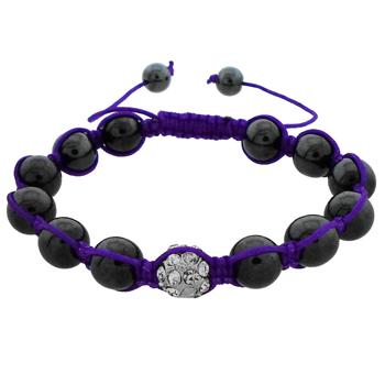 Stylish Bracelet with Crystal and Hematite Beads and Purple Cord