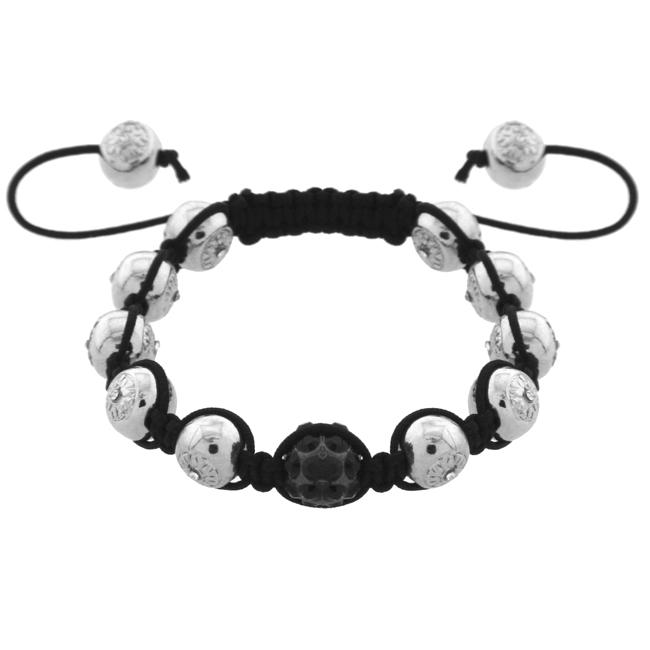 Quality Friendship Bracelet with Silver Patterned Beads and Black Crystal