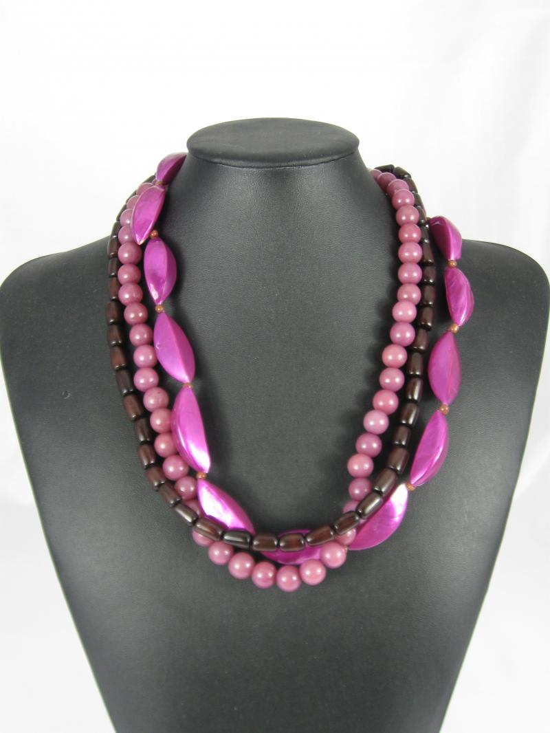 Purple Necklace with Three Strands