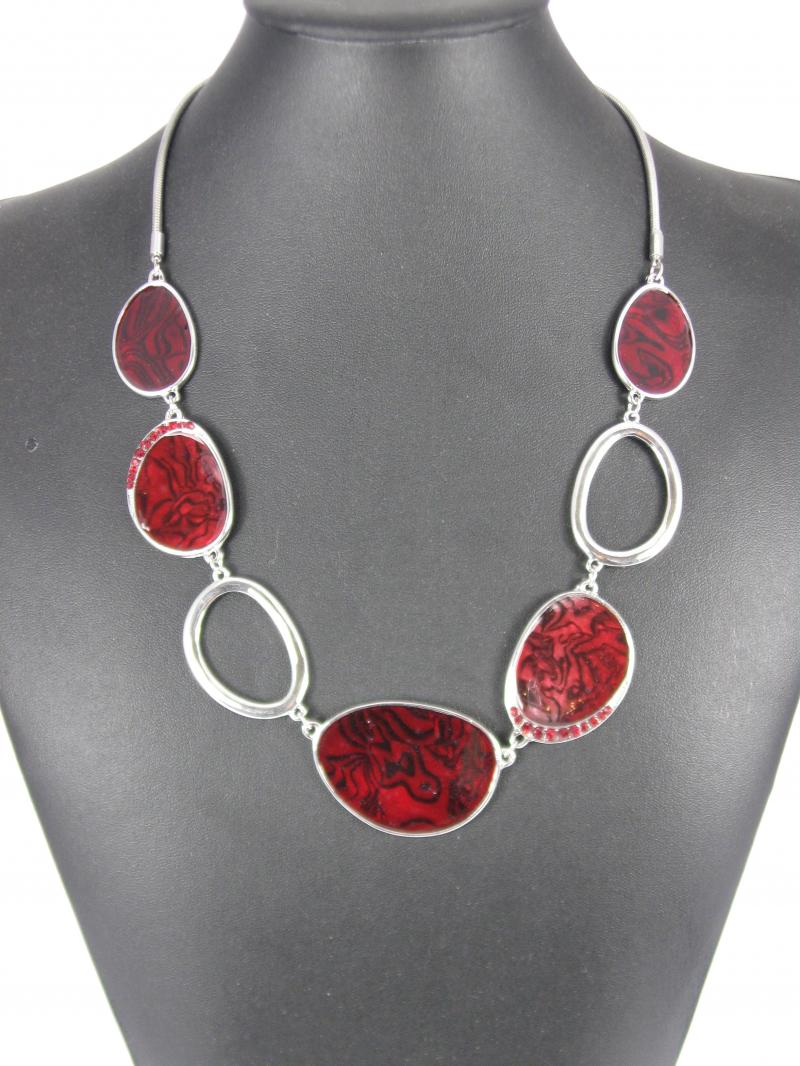 Stunning Art Deco Red and Silver Necklace and matching Earrings