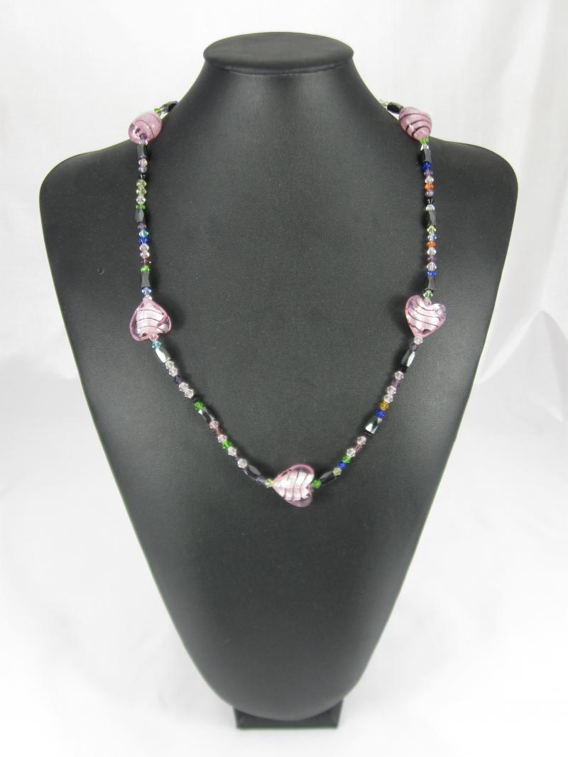 Magnetic Necklace or Bracelet with beautiful Hearts of Pink Glass