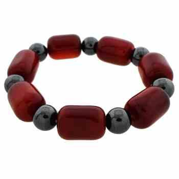 Bracelet with Shiny Russet Brown Glass and Black Hematite Beads