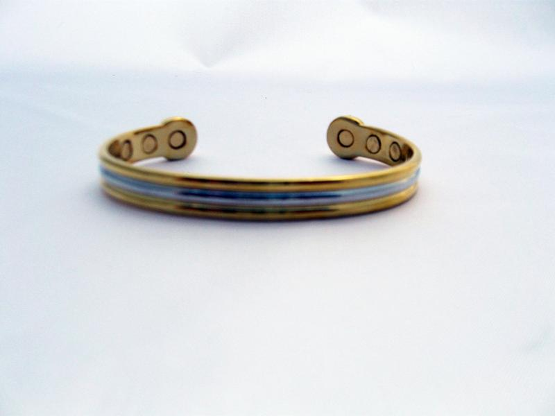 Two Toned Alloy Magnetic Health Bangle