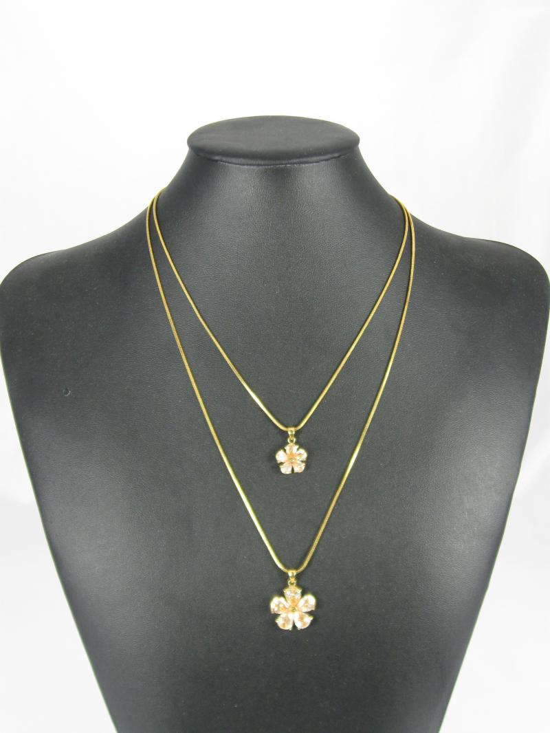 Gold coloured Necklace with Two Chains and Flowers