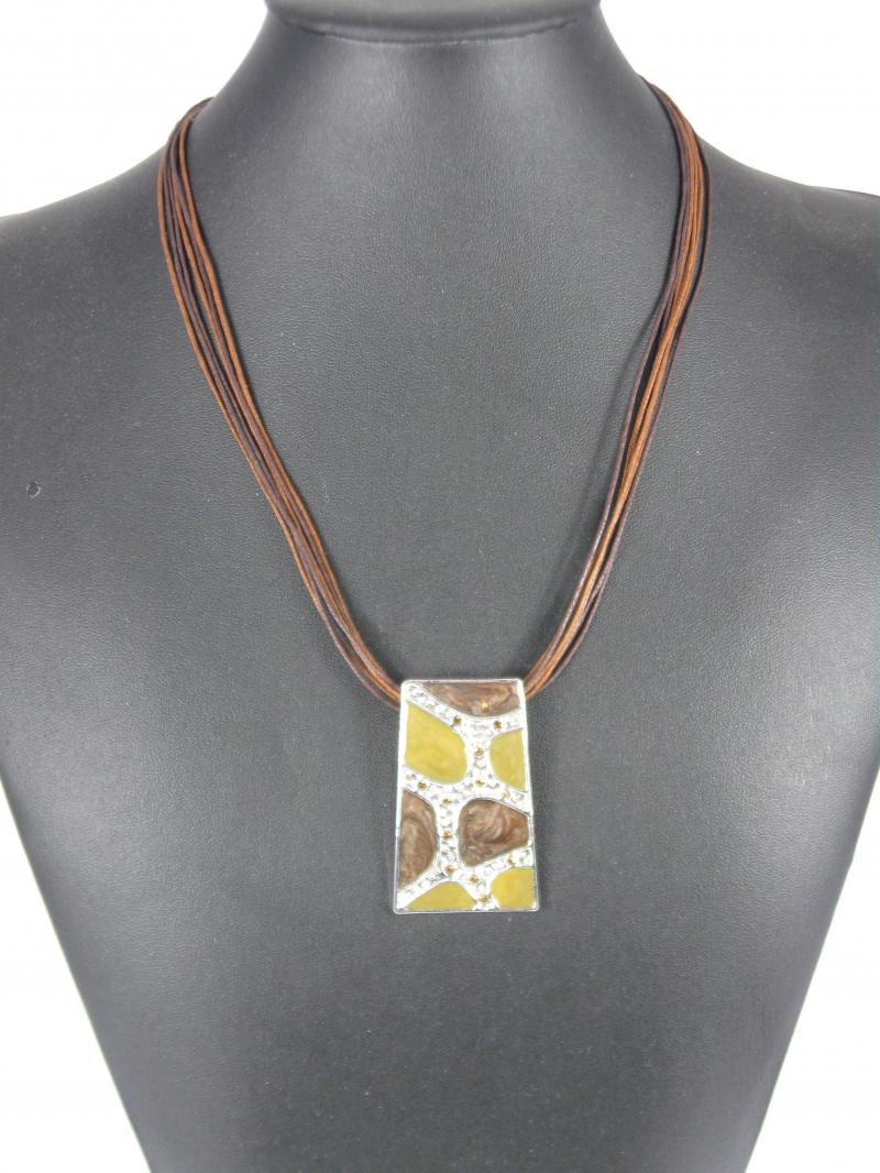 Necklace and Earring set with Green, Brown and Amber