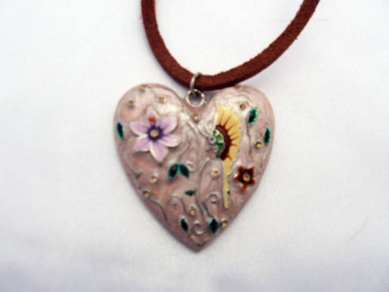 Necklace with a Pink Heart Pendant