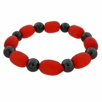 Bracelet with beautiful Shiny Red Glass and Black Hematite Beads