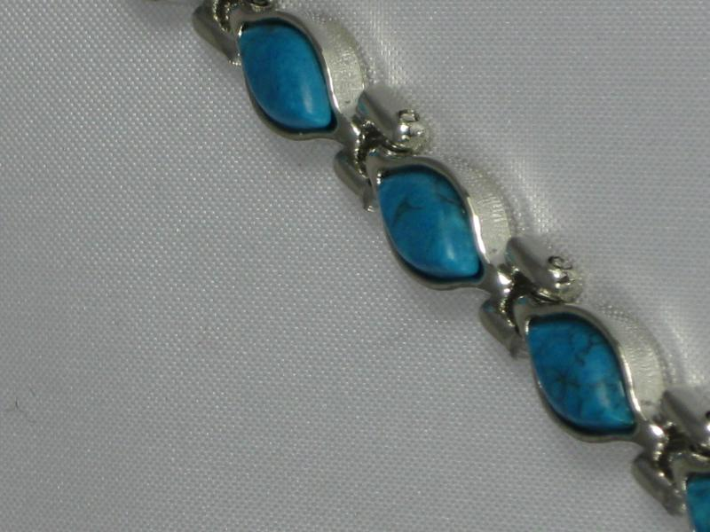 Silver colour Ladies Magnetic Bracelet with Turquoise coloured Stones.