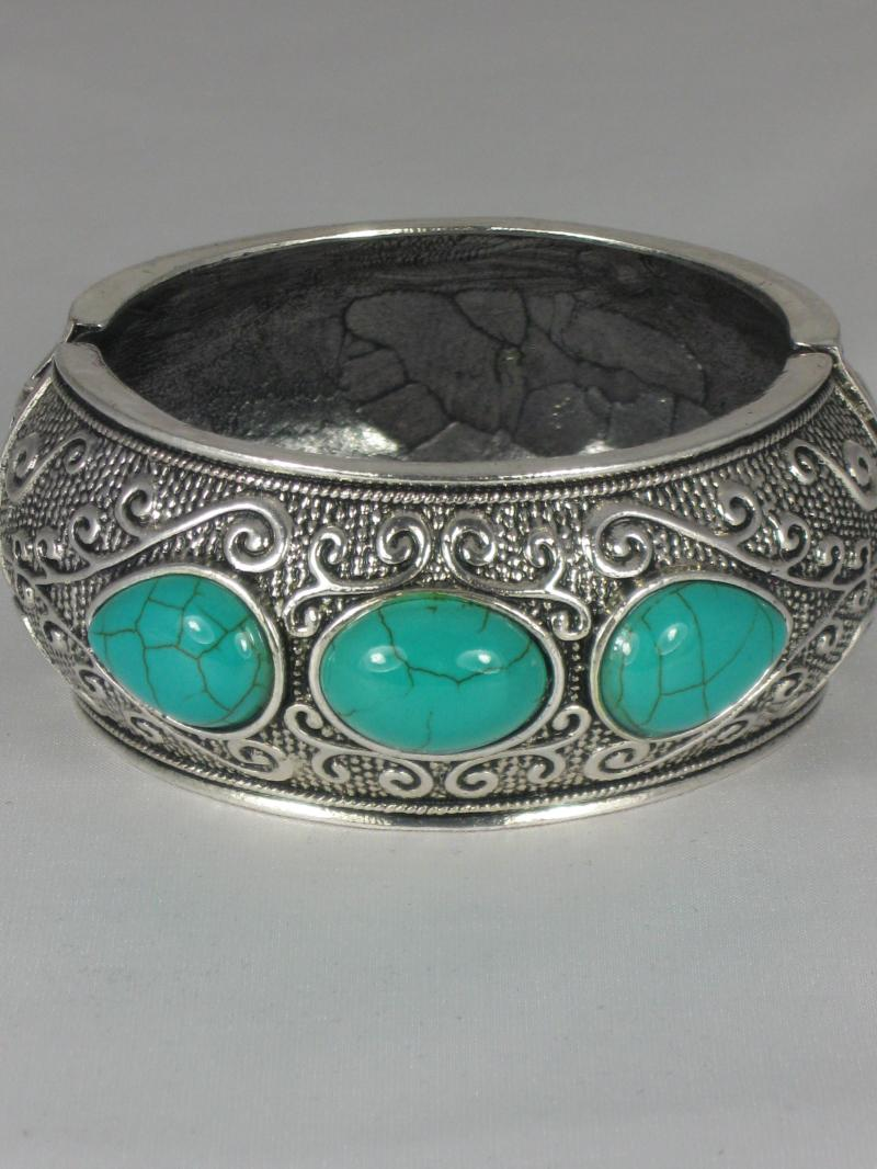 Turquoise Blue and Silver Coloured Bangle
