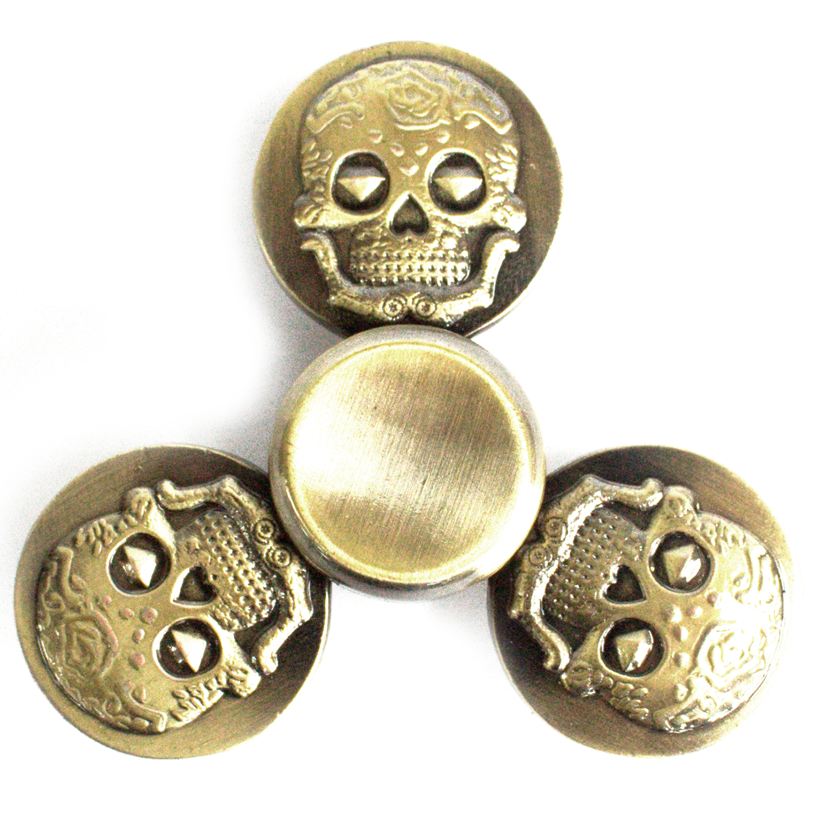 Metal Fidget Spinner - Thee Skulls - Bronze