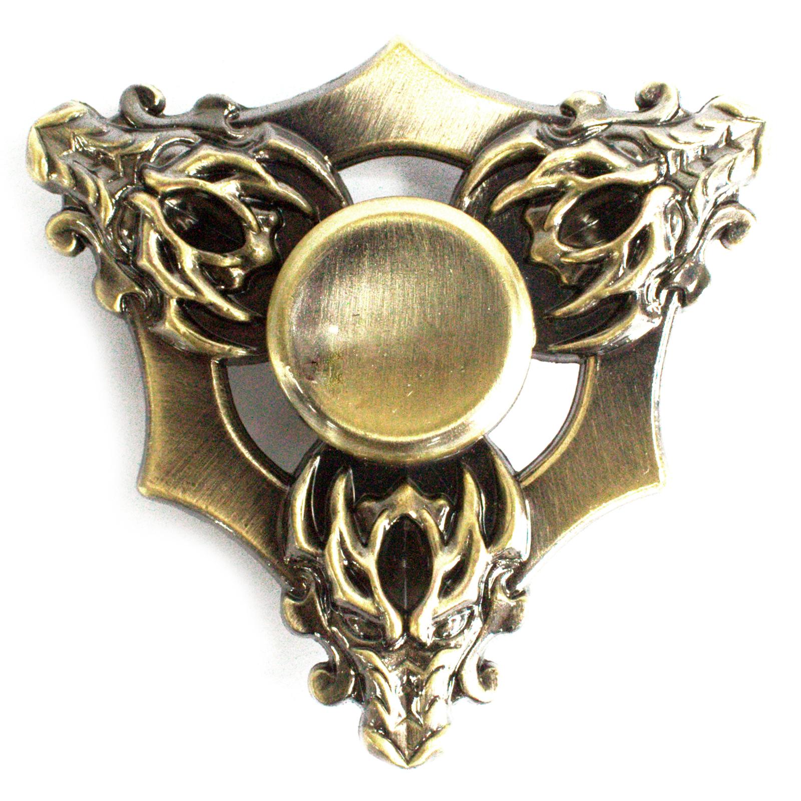 Metal Fidget Spinner - Three Dragons - Bronze