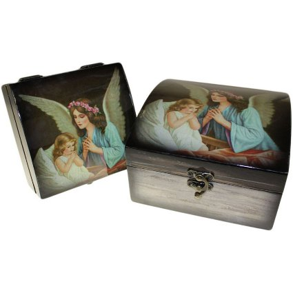 Set of 2 Angel Wooden Boxes - Guardian Angel Child