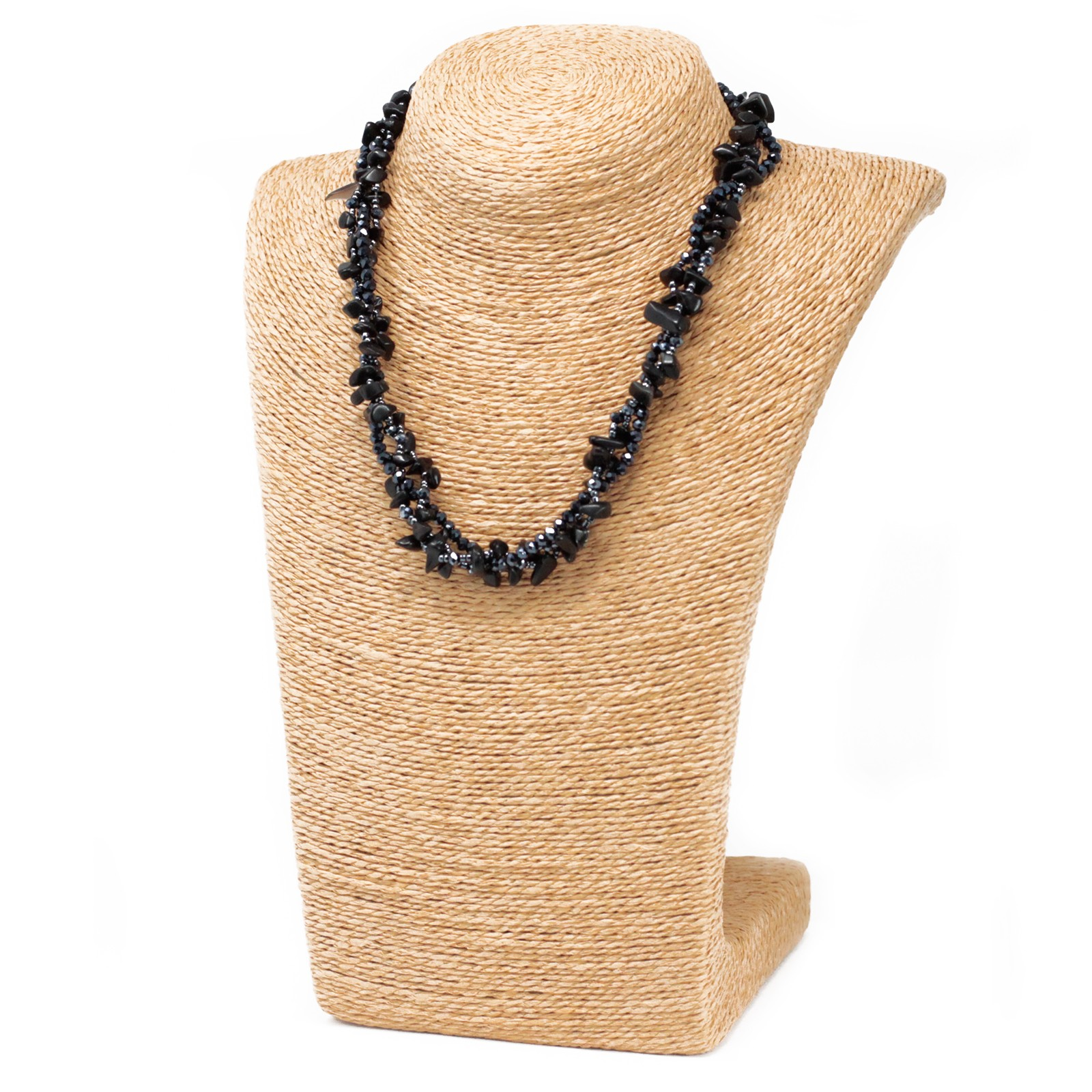 Chipstone & Bead Necklace -Black Agate
