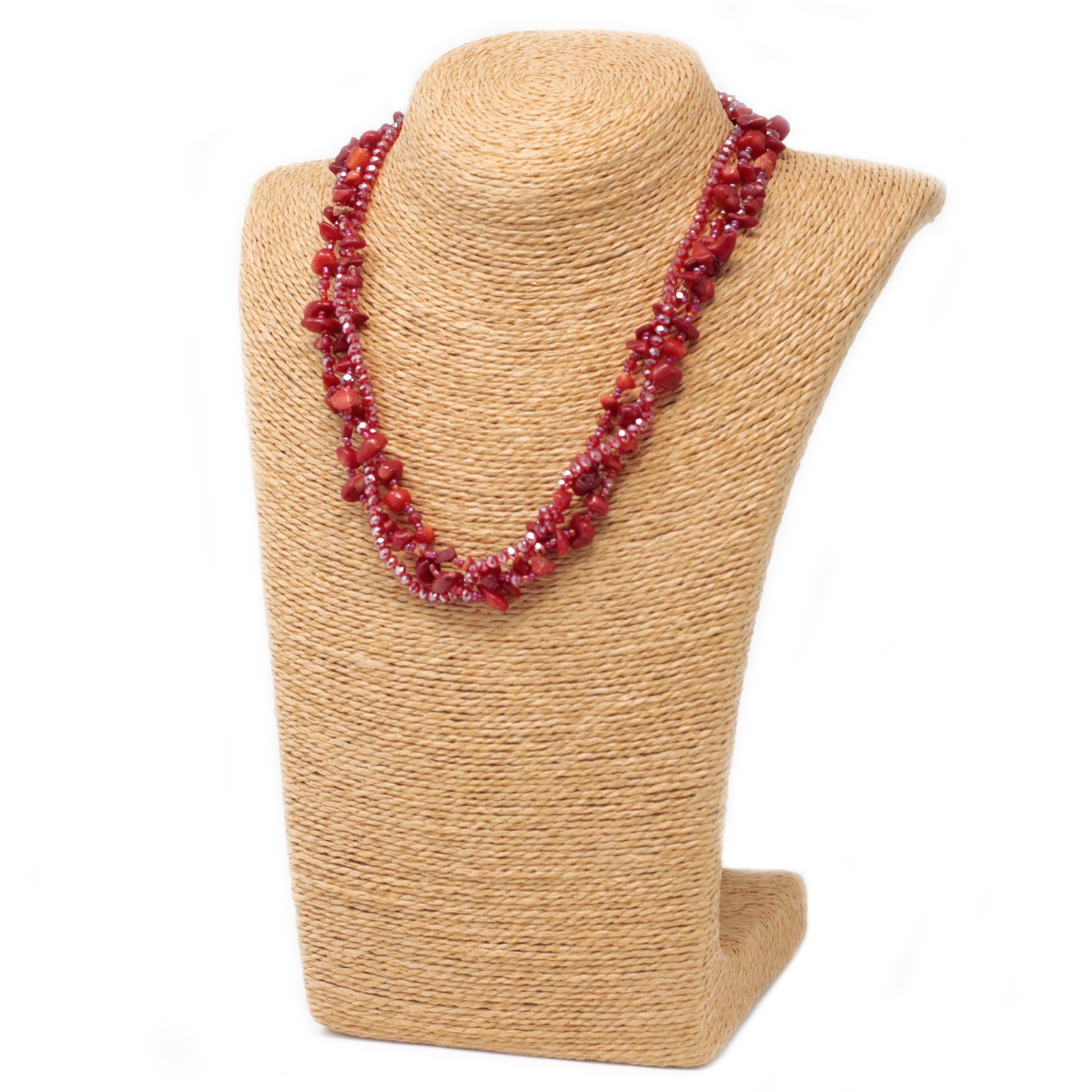 Chipstone & Bead Necklace -Red Coral