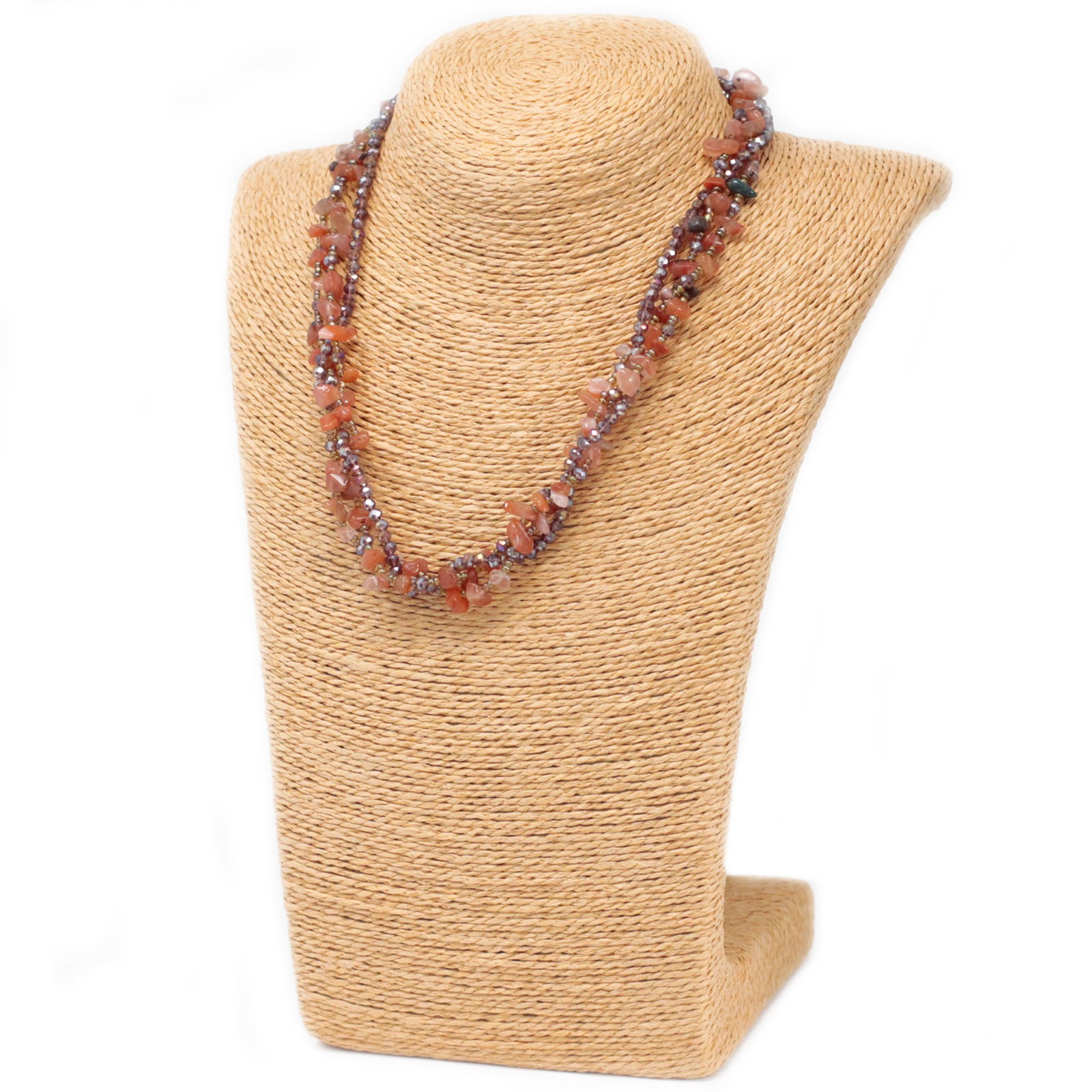 Chipstone & Bead Necklace - Red Agate