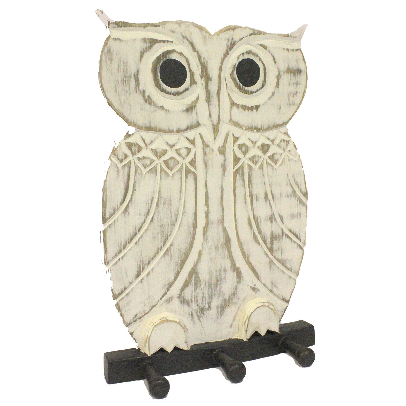 Wooden Coat Hanger - Owl Whitewash