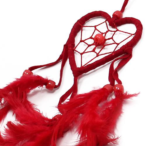 6x Bali Dreamcatchers - Small Heart - Black/White/Red