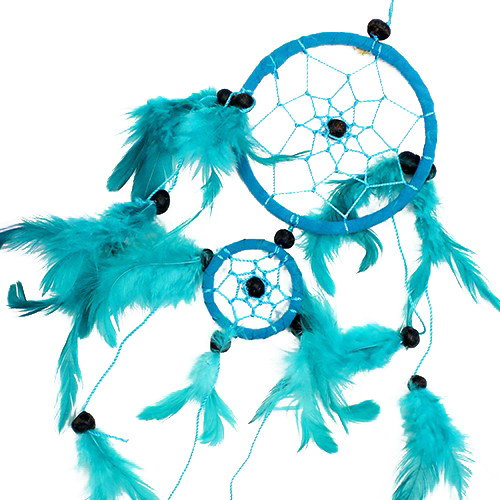 6x Bali Dreamcatchers - Medium Round - Turq/Pink/Purp