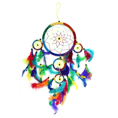 3x Bali Dreamcatchers - Large Round - Rainbow