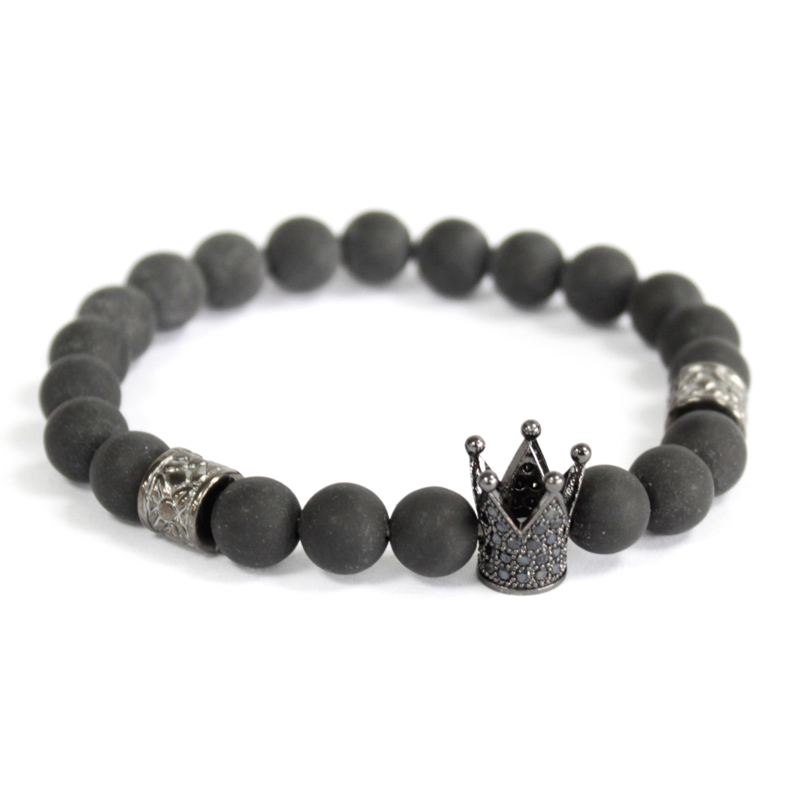 3x Crystal Crown / Black Agate - Gemstone Bracelet