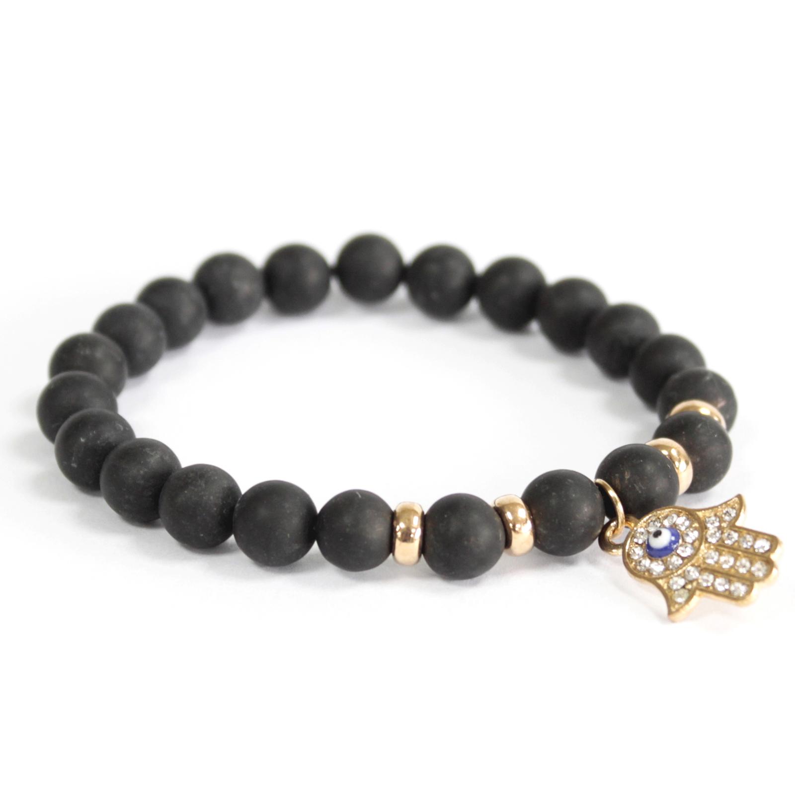 3x Hamsa / Black Agate - Gemstone Bracelet