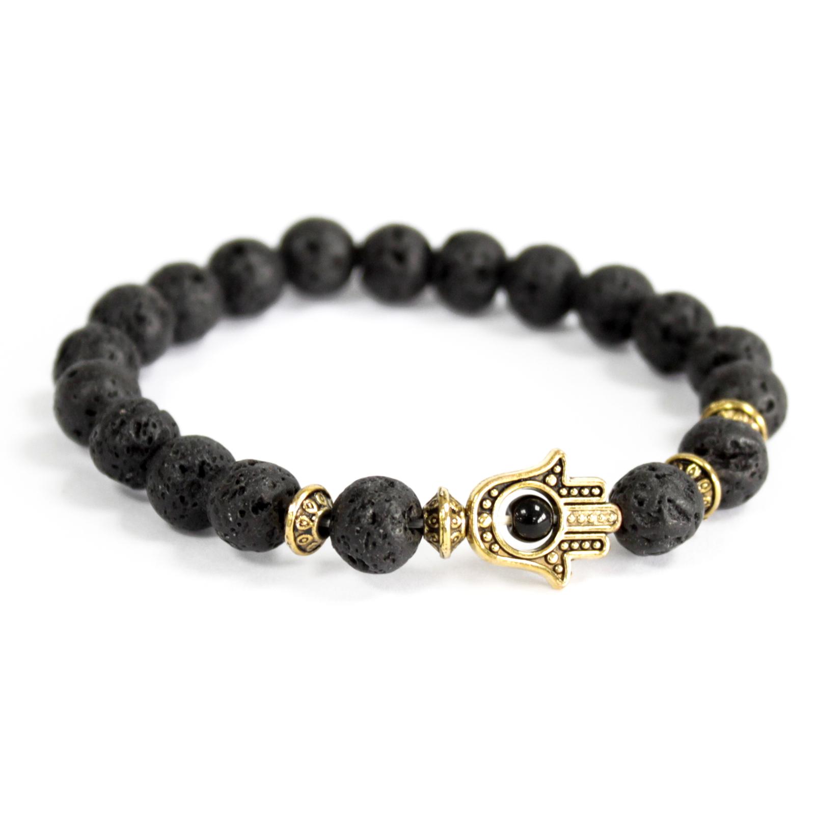 3x Gold Hamsa / Lava Stone - Gemstone Bracelet