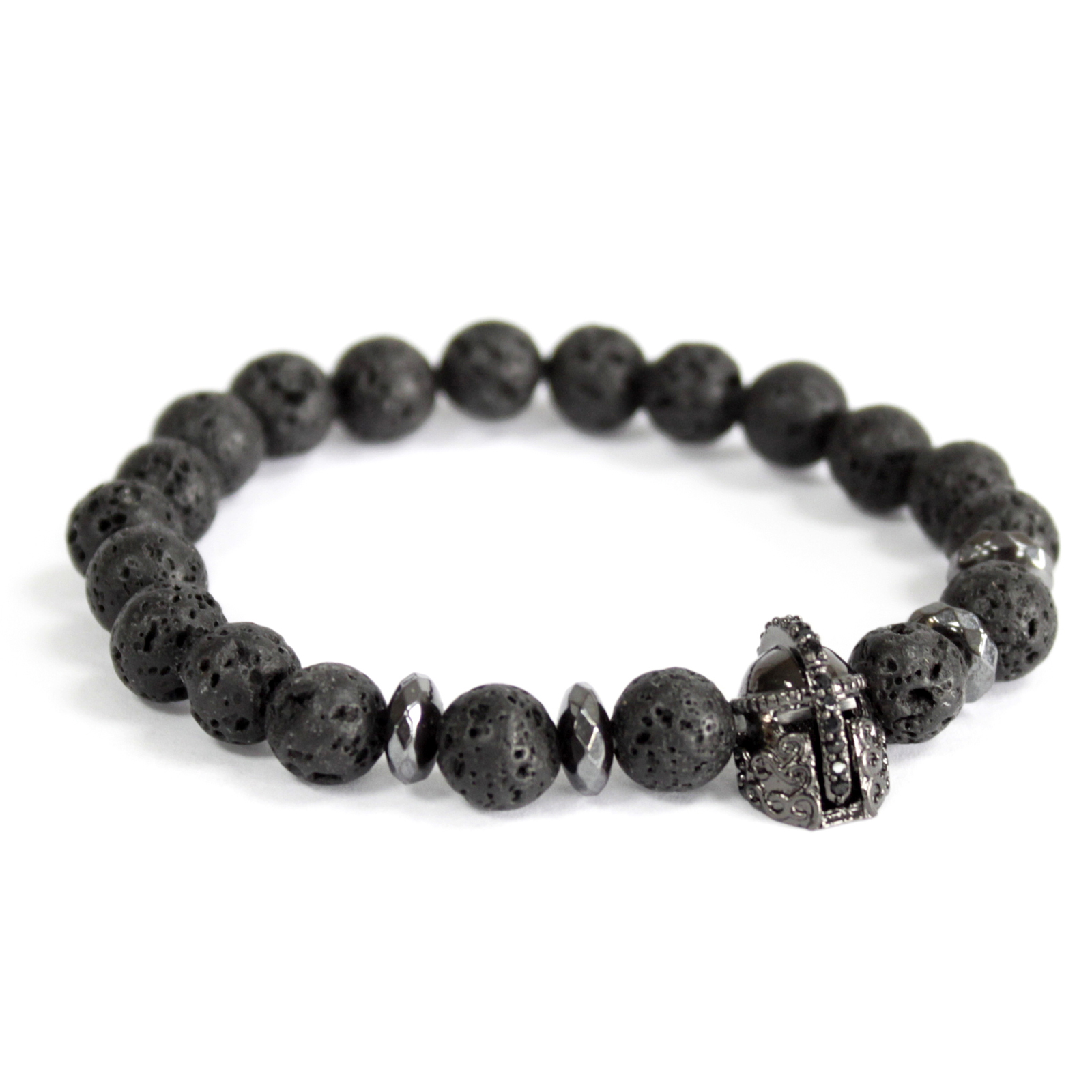 3x Knight's Helmet / Lava Stone - Gemstone Bracelet