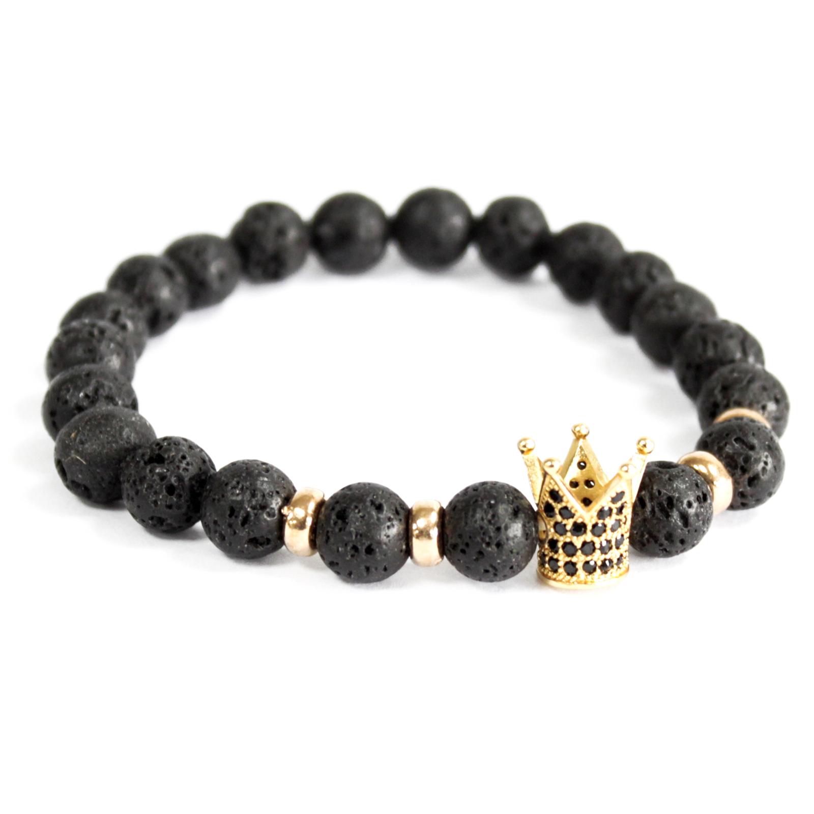 3x Gold Crown / Lava Stone - Gemstone Bracelet