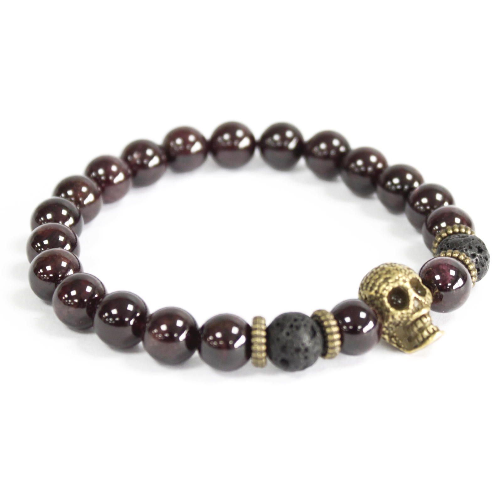 3x Bronze Skull / Blood Stone - Gemstone Bracelet