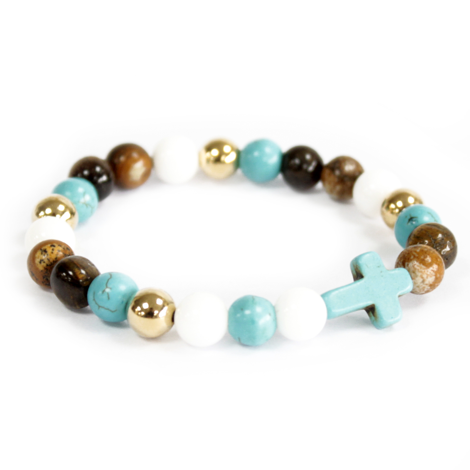 3x Turquoise Cross / Royal Beads - Gemstone Bracelet